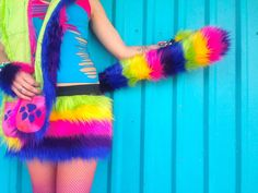 SALE // RaiNbOw TAIL faux fur striped fluffies by phunkyfresh, $19.50