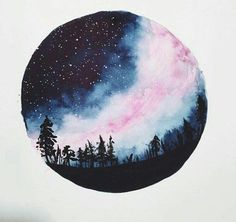 art, blue, galaxy, night, paint
