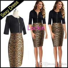 2015 Women Summer Elegant Ladies' Sexy Prom Office Dresses Leopard Patchwork front Zipper Black Party Pencil Dress Celebrity Casual Party from Lockin,$5.22 | DHgate.com