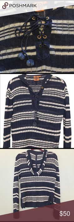"Tory Burch Sweater Tory Burch nautical inspired navy and white striped linen sweater hoodie. This wears beautifully.  Pair with a white cami and shorts....or even throw over a bathing suit. Also perfect for those cool autumn evenings. Laying flat - length 23-"", bust 19"". Tory Burch Sweaters Crew & Scoop Necks"