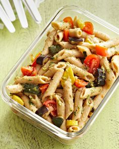 Zucchini, bell peppers and yellow summer squash add bright crunch, while cherry tomatoes offer bursts of healthy vitamins to this unique pasta salad. #lunchrecipes #lunchideas #easylunchideas #bhg Roasted Vegetable Pasta, Vegetable Pasta Salads, Healthy Pasta Salad, Healthy Pastas, Pasta Salad Recipes, Roasted Vegetables, Vegetable Recipes, Healthy Recipes, Veggies