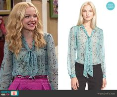 Liv's blue floral blouse and pink skirt on Liv and Maddie.  Outfit Details: https://wornontv.net/56938/ #LivandMaddie