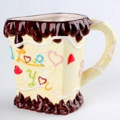 Chocolate mug, cupcake design cup pottery present, ceramic ice cream mug