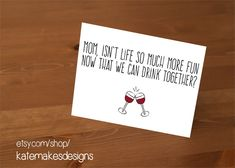 Funny Mother's Day cards: Wine Mother's Day Card from Kate Makes Designs