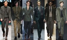 While grey was the big story of the shows, green beat off stiff competition from orange, pink and blue to be the second-most popular colour on the catwalks. However, no particular shade rose to prominence, with forest, dark, military and even mint green all making appearances in London, Milan and Paris. Next season the only rule is: there are no rules. From left to right: Tiger of Sweden, Burberry Prorsum, Berluti, Hardy Amies, dunhill and Bottega Veneta.