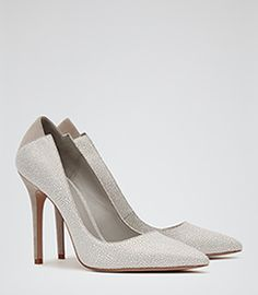 Womens Pale Grey Patterned Court Shoes - Reiss Jaime