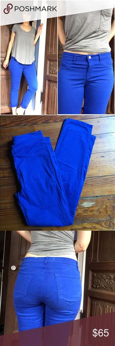 "J Brand Cobalt Blue Skinny Jeans I put 28 in the size description bc these are a little loose on me and I'm usually a 27 so I think they shrunk from 29 to 28. Which is good news for you if 28 is your size! In great shape. Details on tags in pics. 29.5"" inseam. J Brand Jeans Skinny"