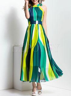Fashionable Sleeveless Off shoulder Color-block Maxi Dress