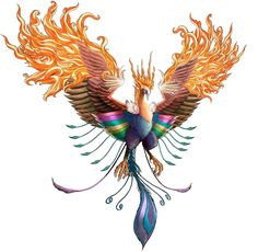 Colorful 3D Flying Phoenix Tattoo Design