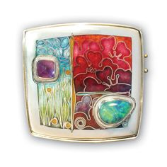 Carolyn Delzoppo brooch/pendant This is a recent piece using an Andamooka opal. It is a cloisonné and champleve enamel brooch that includes a small square cabochon amethyst as well.