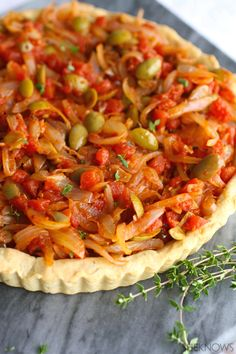 French-style pizza: Onion, Tomato, and Olive Pissaladière