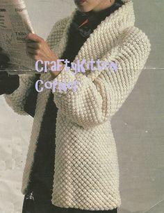 Ladies Blackberry Stitch Shawl Collar Jacket PDF Knitting Pattern