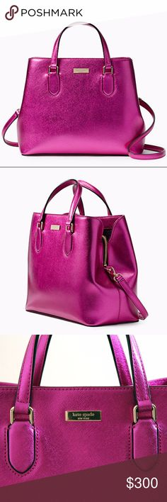 "Kate Spade Satchel Laurel Way Evangelie Baja Rose Kate Spade Satchel with magnetic closure and an adjustable, removable strap interior zipper and double slide pockets, center dividing zipper compartment. This handbag is a conversation piece.  The metallic fusia color is splendid. This gorgeous bag is currently selling for $359 at the KS store SIZE:   9.2""h x 11.7""w x 5.5""d; drop length: 3"" handheld, adjustable strap length: 17"" MATERIAL: metallic crosshatched leather with matching trim…"