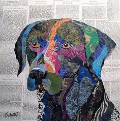 x x original torn paper collage on boxed wood panel Picasso Collage, Paper Collage Art, Collage Art Mixed Media, Chalk Pastel Art, Chalk Pastels, Chalk Art, Dog Quilts, Animal Quilts, Mini Quilts