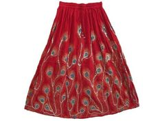 Maxi Skirt - Gypsy Boho Ethnic Red Sequin Hippie Peacock Feather Long Skirt Mogul Interior,http://www.amazon.com/dp/B00BO3ZM6Y/ref=cm_sw_r_pi_dp_VK8MrbED52BB4DB3
