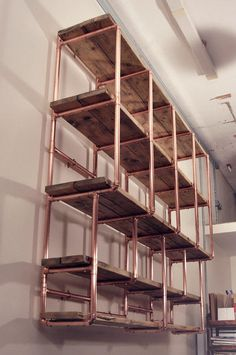 copper and wood wine shelf - Google Search