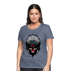 Geschenke Shop   Indianer skulll - Frauen Premium T-Shirt T Shirt Designs, Trends, Fashion, Fashion Styles, Funny Women, Funny T Shirts, Woman Shirt, Native Americans, Cotton