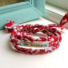 bracelet, fabric bracelet, fabric braided bracelet, wrist wrap, word bracelet, anklet braid, Be happy bracelet - No 11