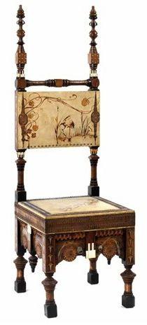 CARLO BUGATTI chair, c. 1900, ebonized walnut, 53 in H