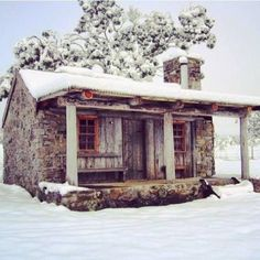 Snowy Log Cabin......