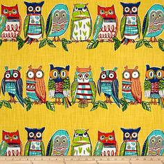 Richloom R Gallery Hoot Soleil from @fabricdotcom  Screen printed on cotton slub duck (slub cloth has a linen appearance), this versatile medium/heavyweight fabric is perfect for window accents (draperies, valances, curtains and swags), accent pillows, bed skirts, duvet covers, slipcovers , upholstery and other home decor accents. Create handbags, tote bags, aprons and more. Colors include yellow, blue, white, black, grey, green, orange and red.