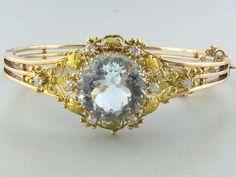 Antique 14k Gold Diamond Aquamarine Bracelet | The green gold floral overlay is killing me. Aquamarine Bracelet, Green And Gold, Overlay, Brooch, Diamond, Antiques, Bracelets, Floral, Jewelry