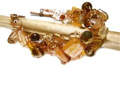Autumn Fall Color Chunky Copper Amber Bracelet by JustAspire, $24.00
