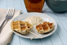 Crunchy Chicken Stuffed Waffle Pops | snappygourmet.com