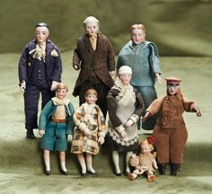 ) Collection of Seven German bisque dollhouse dolls Antique Dollhouse, Dollhouse Dolls, Miniature Dolls, Dollhouse Miniatures, Victorian Dolls, Antique Dolls, Vintage Dolls, Doll House People, China Dolls