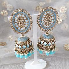 Jhumki Earrings, Dangle Earrings, Silver Paint, Blue Gold, Baby Blue, Dangles, Inspiration, Biblical Inspiration, Silver Color