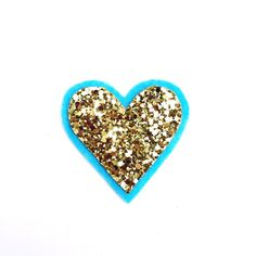 Heart Brooch -  Carefully hand cut heart brooch, made from high quality, non shedding, gold glitter fabric on a blue felt backing and affixed onto