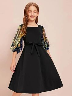 To find out about the Girls Sequin Balloon Sleeve Self Belted Dress at SHEIN, part of our latest Girls Dresses ready to shop online today! Preteen Girls Fashion, Teenage Girl Outfits, Girls Fashion Clothes, Cute Girl Outfits, Kids Outfits Girls, Teen Fashion Outfits, Little Girl Dresses, Girl Fashion, Girls Dresses