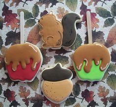 Fall cookies - love the caramel apple! Thanksgiving Cookies, Fall Cookies, Drop Cookies, Cut Out Cookies, Iced Cookies, Cupcake Cookies, Sugar Cookies, Frosted Cookies, Thanksgiving Table