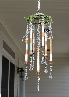 repurposed lighting. Repurposed Antique Bobbins Mobile Wind Chime By QuirkyWorksChic Lighting