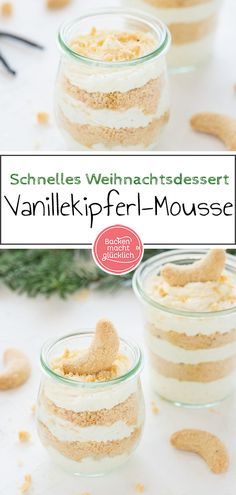 Creamy vanilla biscuit mousse: a simple, quick Christmas dessert in a glass, which is nevertheless refined and looks beautiful. The quick vanilla bisc Pancake Dessert, Dessert Cake Recipes, Desserts In A Glass, Great Desserts, Winter Desserts, Christmas Desserts, Vanilla Biscuits, Dessert Restaurants, Mousse Dessert
