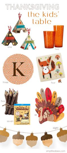 cute Thanksgiving kids table ideas // Simplified Bee #thanksgiving #kids