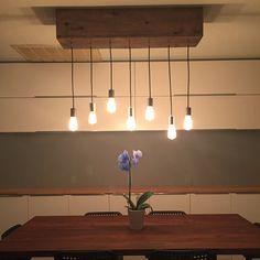 Wood Edison Chandelier 7 Bulbs by SeamadeShop on Etsy