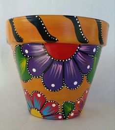 Painted clay pot hand painted flowerpot by brilliantexpressions Clay Pot Projects, Clay Pot Crafts, Rock Crafts, Flower Pot Art, Flower Pot Crafts, Painted Plant Pots, Painted Flower Pots, Black And Red Kitchen, Kitchen Yellow