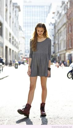 Dr. Martens boots and a grey dress