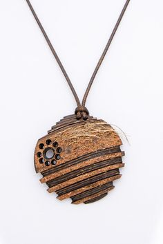 "Men jewelry from coconut shell Unique design for the best gift Carved pendant for him ""Modern talking"" peace of Art with style and ener - $44.00 USD"