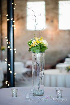 Wedding Decor | Yellow Flowers & Twigs | Centerpiece / White tablecloths | Abe & Jake's Landing Lawrence KS | Topeka KS Wedding Photographer | Stacey Zoll Photography