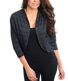 Take a look at this Charcoal Stripe Shrug by Buy in America on #zulily today! Misses Clothing, That Look, Take That, Charcoal, Stripes, America, My Style, Casual, Sleeves