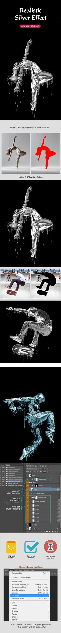 Realistic Dripping Silver Photoshop Action - Photo Effects Actions