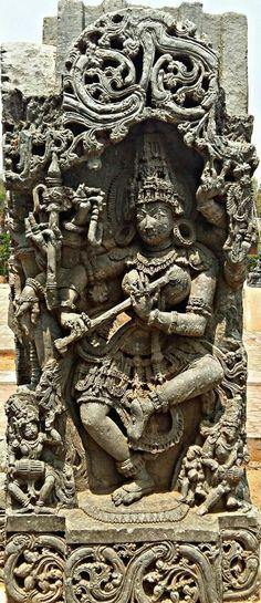 """ Goddess Saraswati  ( The Hindu Goddess of Learning)."" Halebidu Museum. Hoysala Dynasty. 13th Century CE. Karnataka, India."