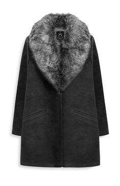 Primark - Manteau noir à col en fausse fourrure