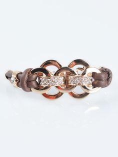 Love! Love! LOVE this Bracelet! Chunky Round Rhinestone Brown PU Bracelet | Choies #Chunky #Gold #Rhinestone #Fashion #Bracelet #Jewelry #Accessories