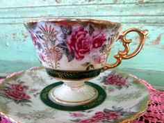 Vintage Teacup Tea Cup and Saucer Lusterware Floral rose Pedestal style Heavy gold
