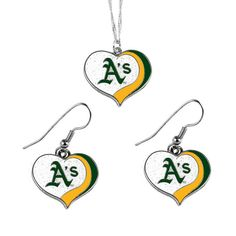 Aminco MLB Oakland A's Sports Team Logo Glitter Heart Necklace and Earring Set Charm Gift