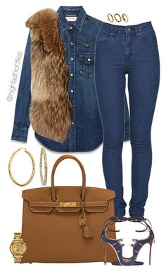 """""""Untitled #2688"""" by highfashionfiles on Polyvore featuring Yves Saint Laurent, Adrienne Landau, Dr. Denim, Hermès, Dsquared2, Versus, Bling Jewelry and ALDO"""