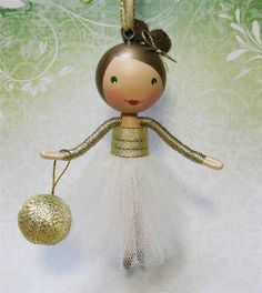 Clothespin Doll Christmas Tree Ornament 2012 - Ivory and Gold Sparkle